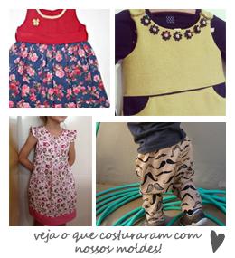 peças feitas com nossos moldes e tutoriais de costura
