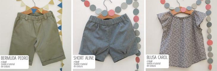 moldes e tutorias de costura para roupas infantis - bermuda, short e blusa
