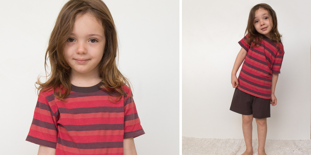 conjunto camiseta e bermuda em malha infantil
