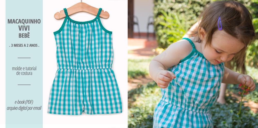 Macaquinho VIVI bebê - moldes e tutorial de costura
