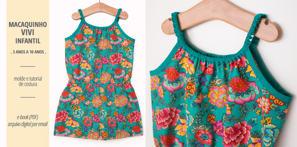 Macaquinho VIVI infantil - moldes e tutorial de costura