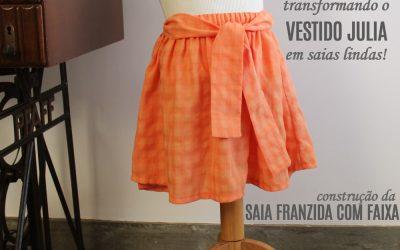 Transformando um molde de vestido em saia – vestido JULIA e saia franzida