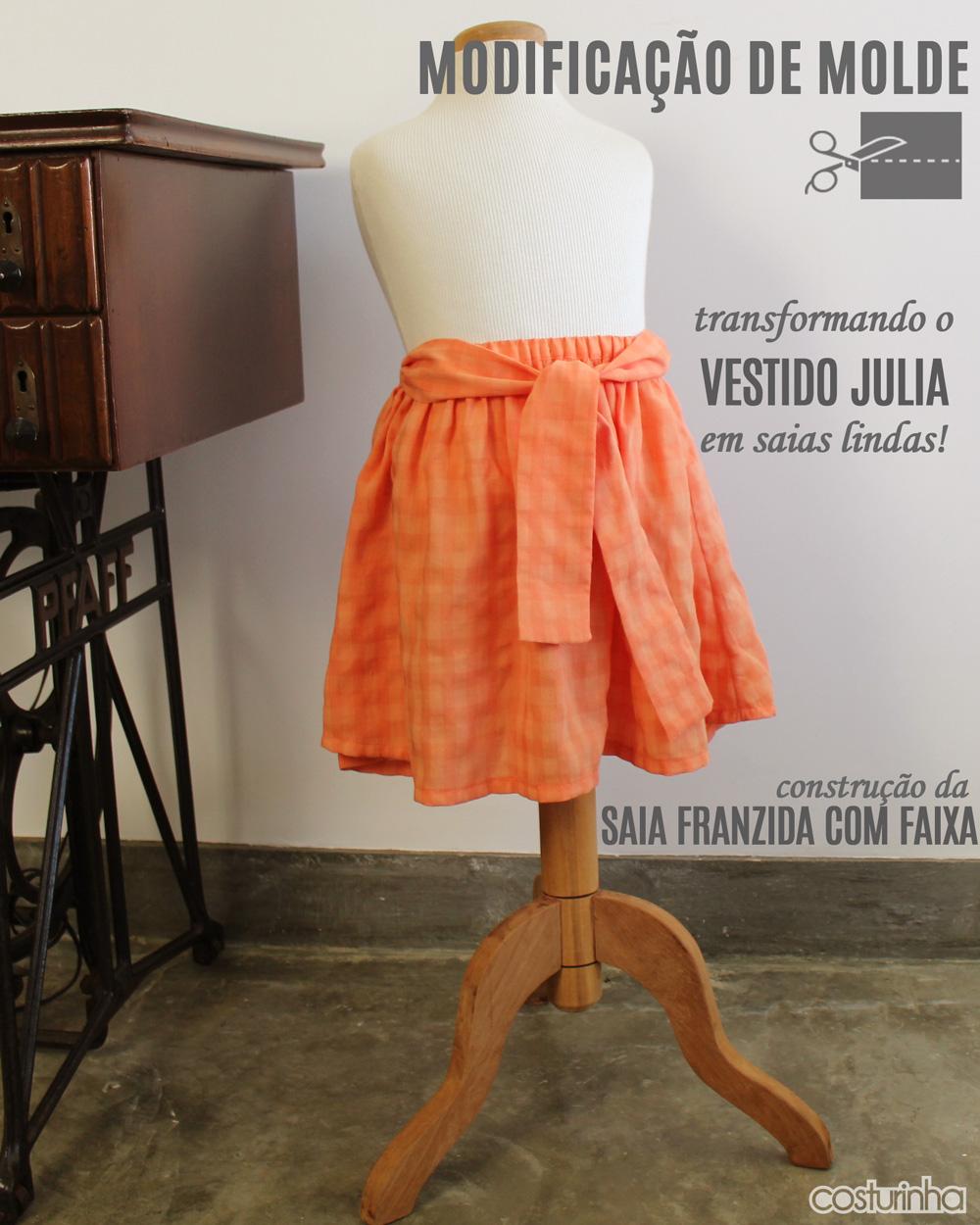 Modificação de moldes: transformando o Vestido Julia em uma saia franzida