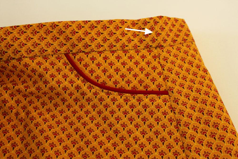 Modificação de moldes: transformando o Vestido Julia em uma saia - detalhe da costura do elástico no cós
