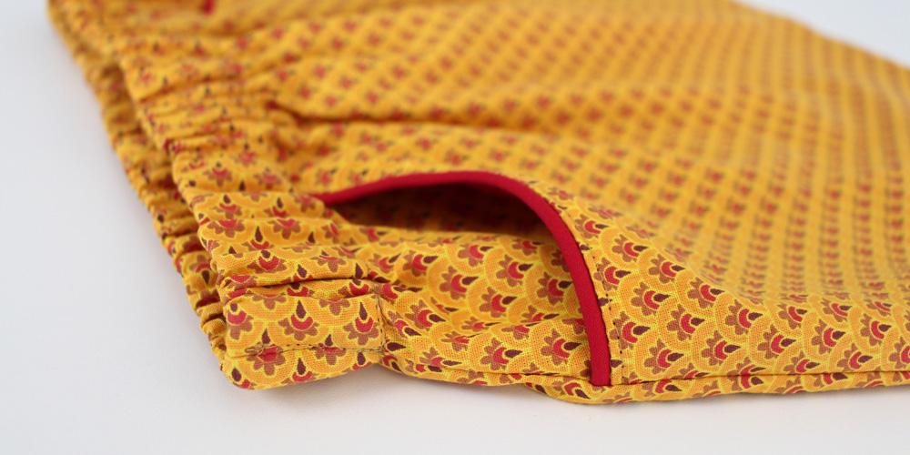 Modificação de moldes: transformando o Vestido Julia em uma saia - detalhe da costura do bolso lateral e do cós