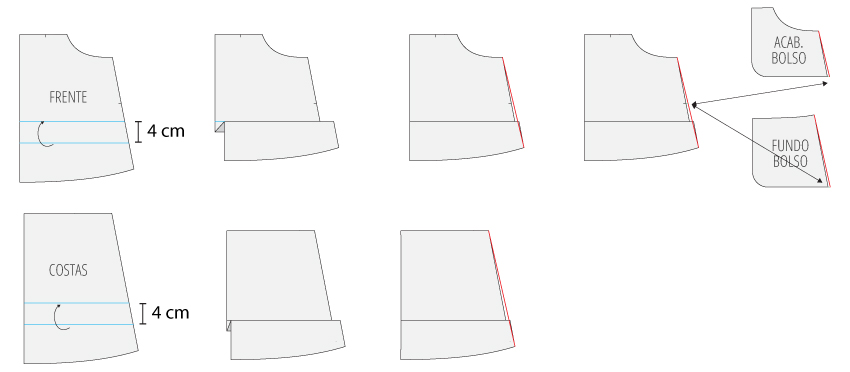 Modificação de moldes: alteração no comprimento - transformando o Vestido Julia em uma saia