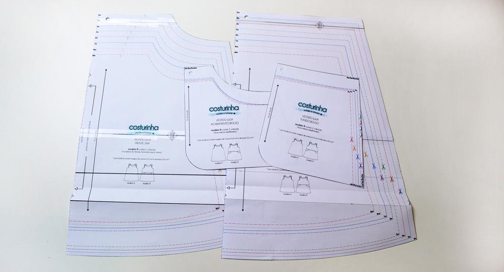 Modificação de Moldes - vestido Julia - moldes em pdf impressos
