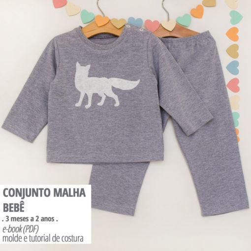 Conjunto Malha Bebê - moldes e tutorial de costura em PDF