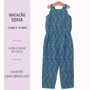 Macacão Sofia Infantil - moldes e tutorial de costura em PDF