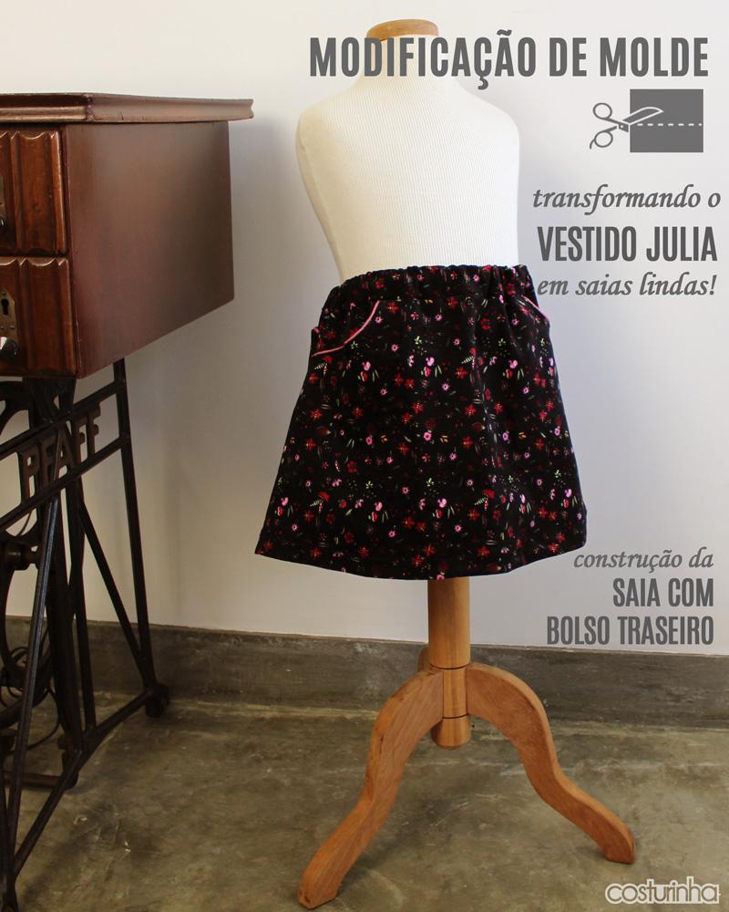 Transformando um molde de vestido em saia – vestido JULIA e mini saia com bolso traseiro
