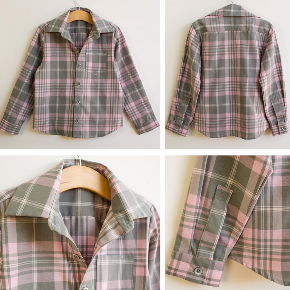 camisa de botão infantil detalhes do acabamento de costura