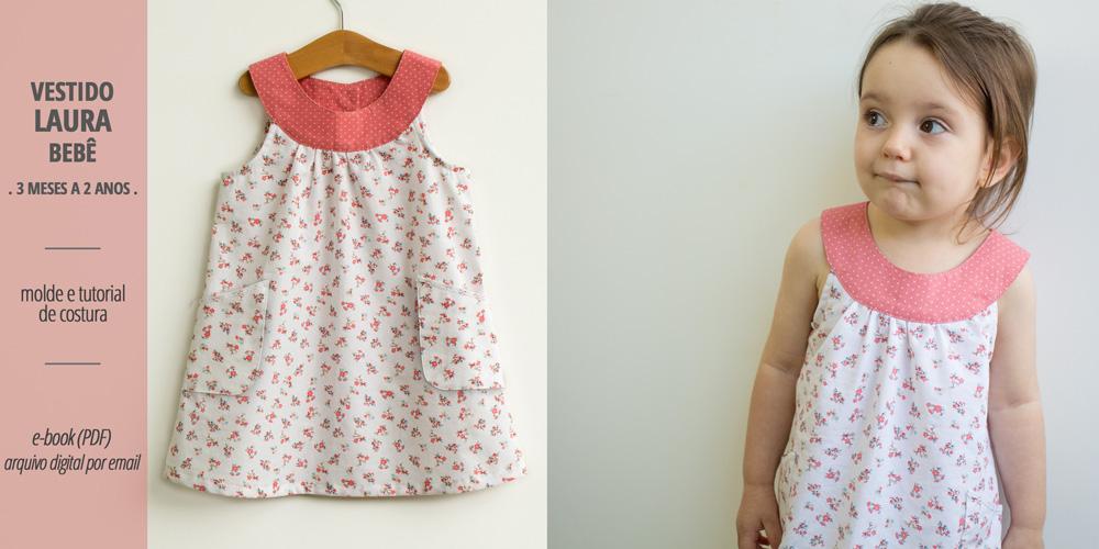 Vestido LAURA bebê - moldes e tutorial de costura em PDF para imprimir em casa - COSTURINHA