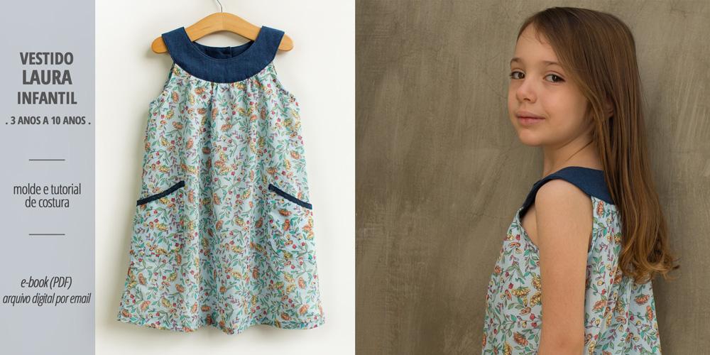 Vestido LAURA infantil - moldes e tutorial de costura em PDF para imprimir em casa - COSTURINHA