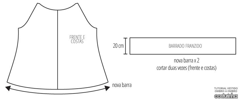 modelagem vestido ombro a ombro a partir de molde de blusa