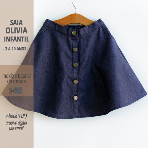 Saia OLIVIA infantil - molde e aula passo a passo de costura