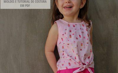 Molde de costura em PDF – Blusa Infantil Amarradinha Daniela