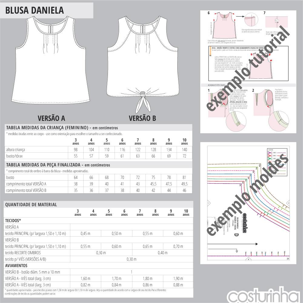 Tabelas de medidas para blusa regata infantil em tricoline