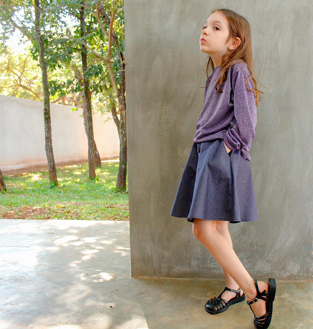 Saia gode de botões para crianças modelagem e costura