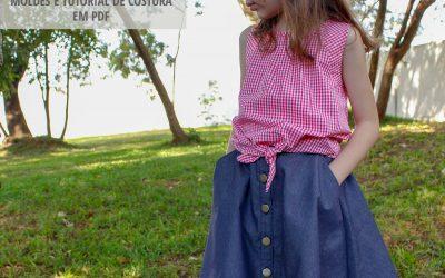 Molde de costura em PDF – Saia Gode Infantil