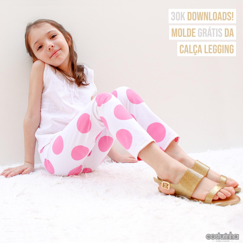 Molde de costura gratis PDF de calca legging infantil